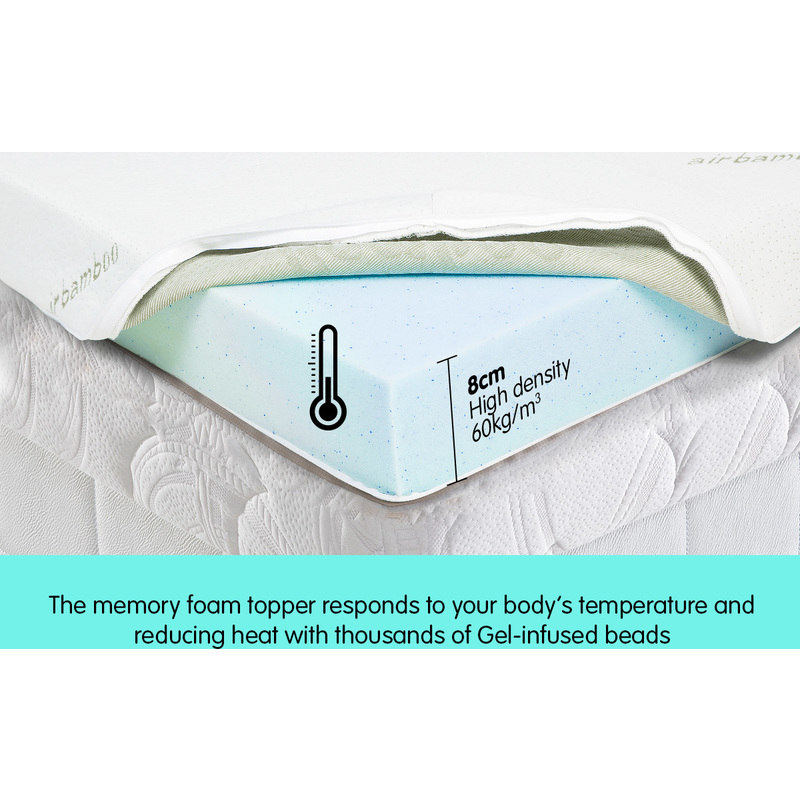 Single Size Cool Gel Memory Foam Mattress Topper