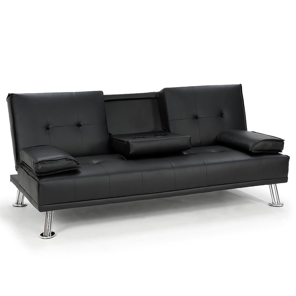 Rochester Faux Leather Sofa Bed Lounge Couch Futon Furniture Suite