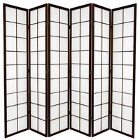 Wooden Brown Zen Room Divider 6 Fold Screen 264cm