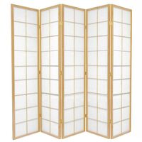 Wooden Natural Zen Room Divider 5 Fold Screen 220cm