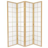 Wooden Natural Zen Room Divider 4 Fold Screen 176cm