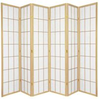 Wooden Natural Japanese Room Divider 6 Fold Screen