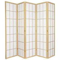 Wooden Natural Japanese Room Divider 5 Fold Screen