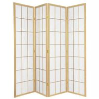 Wooden Natural Japanese Room Divider 4 Fold Screen