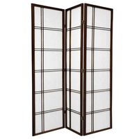 Wooden Brown Cross Room Divider 3 Fold Screen 132cm