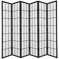 Wooden Black Japanese 6 Fold Room Divider 264cm