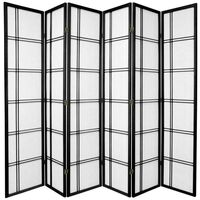 Wooden Black Cross 6 Fold Room Divider 264cm Wide
