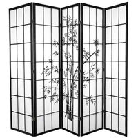 5 Panel Room Privacy Screen Black Zen Garden 220cm