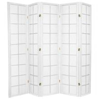 5 Panel Room Divider Privacy Screen White Zen 176cm