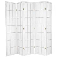 5 Panel Divider Privacy Screen White Shoji 220cm