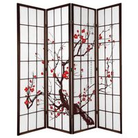 4 Panel Privacy Screen Brown Cherry Blossum 176cm
