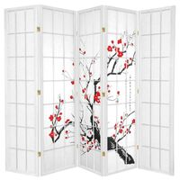 5 Panel Privacy Screen White Cherry Blossum 220cm