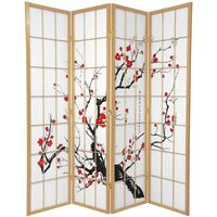 4 Panel Privacy Screen Natural Cherry Blossum 176cm
