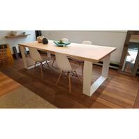 Grange Victorian Ash Timber White Dining Table 2.4m