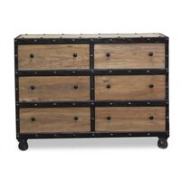 Phoenix Reclaimed Elm Wood 6 Drawer Chest in Brown