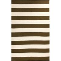 Rover Olive Stripes Flat Weave Wool Rug 155x225cm