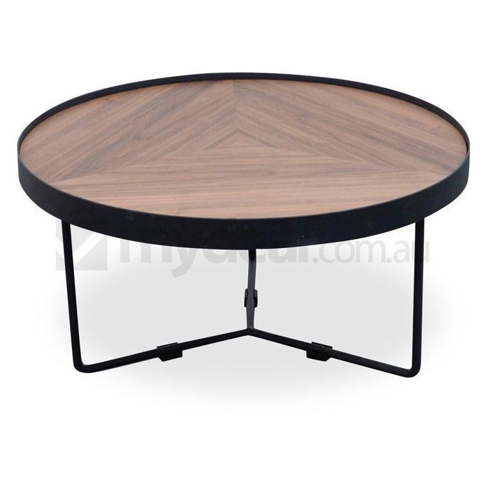 Luna black wooden round coffee table 30cm small buy for Small dark wood coffee table