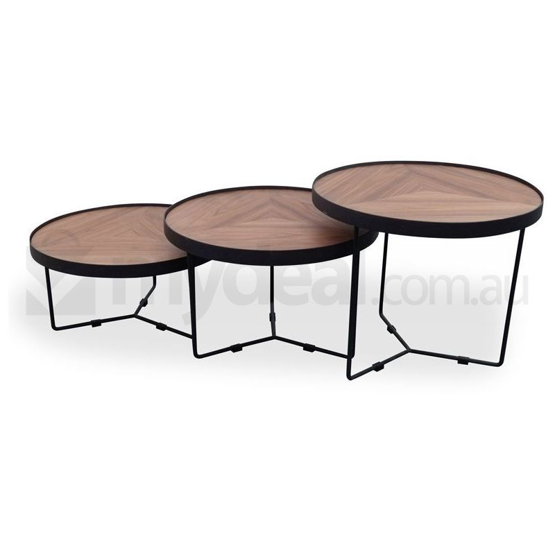 Luna black wooden round coffee table 30cm small buy for Coffee tables 30cm wide