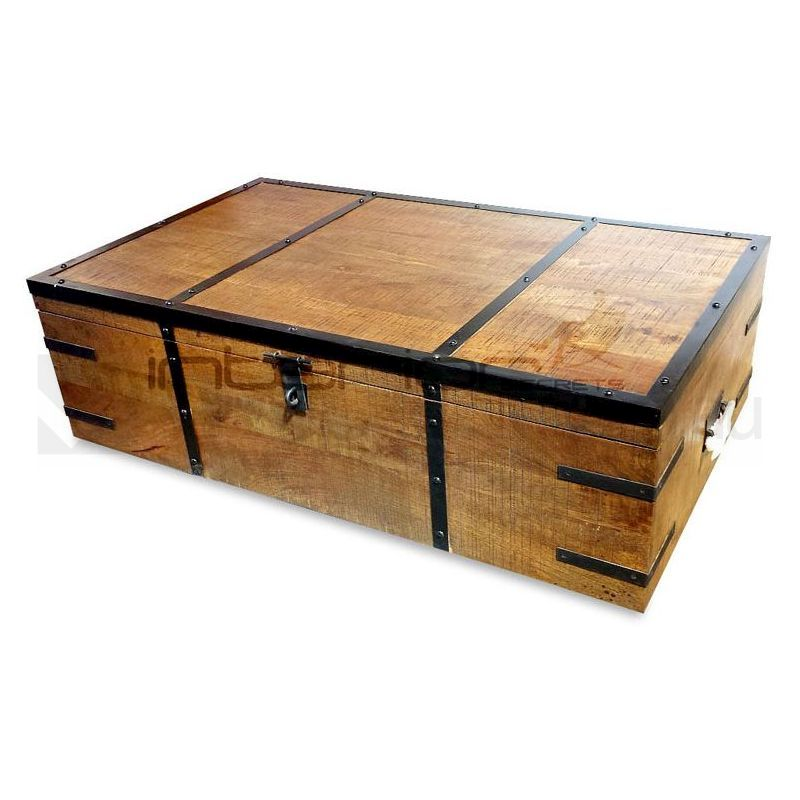 Atlantic Rustic Wood Trunk Storage Box Coffee Table