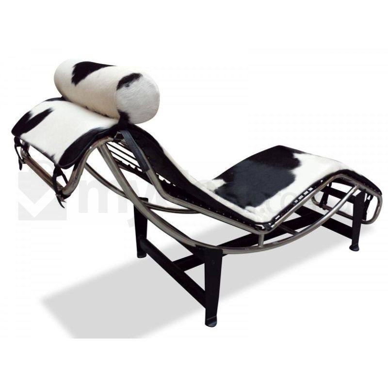 Black cowhide chaise lounge le corbusier replica buy for Black friday chaise longue