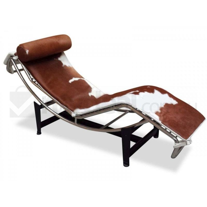 Brown cowhide chaise lounge le corbusier replica buy for Lounge chair replica erfahrungen