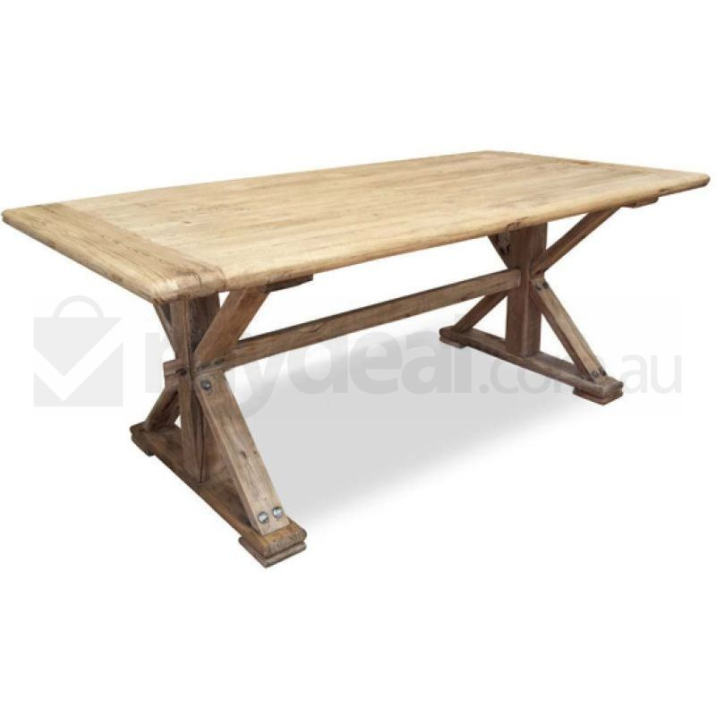 Winston rustic natural elm wood table 3m reclaimed buy for Table 3m