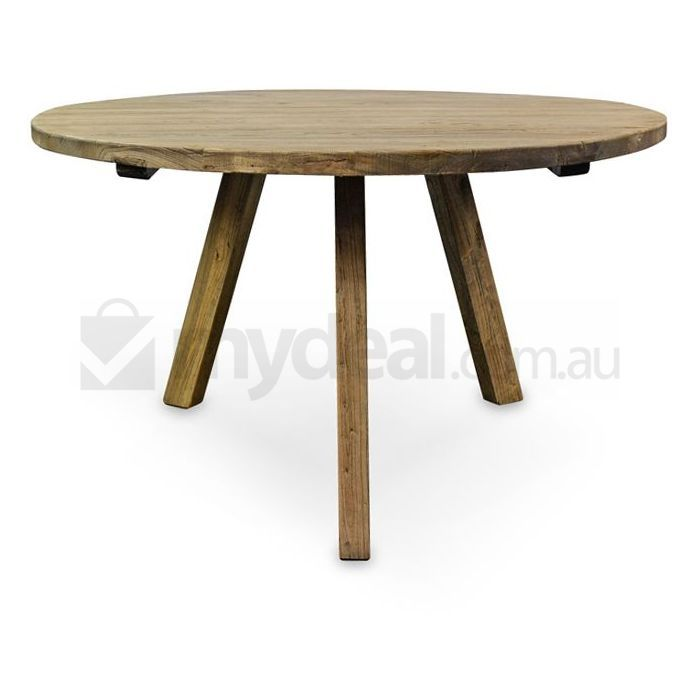 Rustic Round Kitchen Table: Nena Reclaimed Elm Wood Rustic Round Dining Table