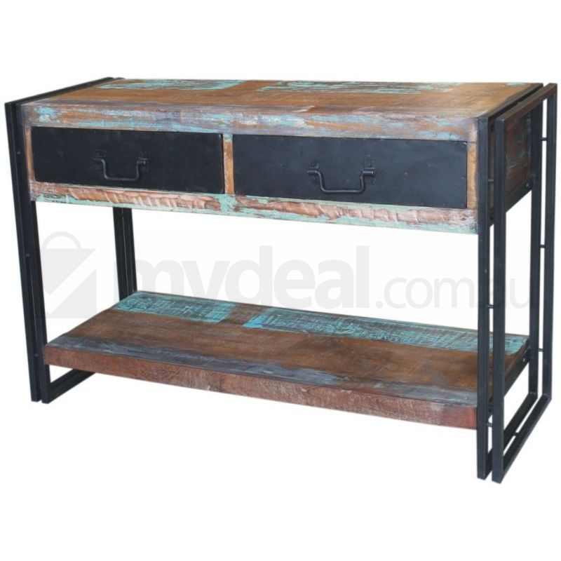 Ludlow reclaimed wood metal rustic console table buy for Metal and wood console tables