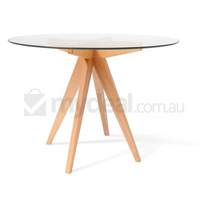 Arrow Round Wood Dining Table W Glass Top 100cm Buy