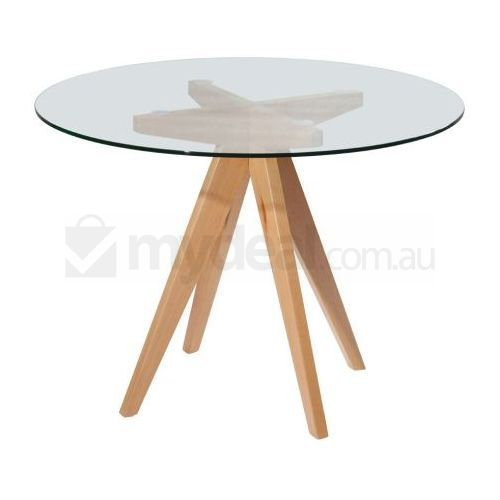Arrow Round Wood Dining Table W Glass Top 100cm Buy Round Dining Tables