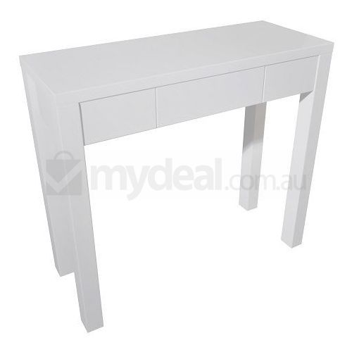 Hotham Wooden 3 Drawer Entry Hall Table in White Buy Console Tables