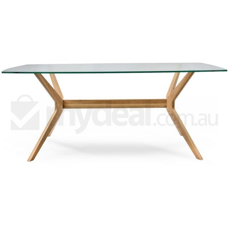 Nora Retro Oak Dining Table with Glass Top Natural Buy  : DT955 VN0001 from www.mydeal.com.au size 800 x 800 jpeg 33kB