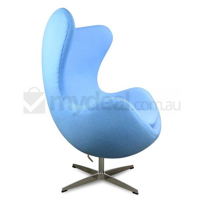 arne jacobsen replica upholstered egg chair in blue buy. Black Bedroom Furniture Sets. Home Design Ideas