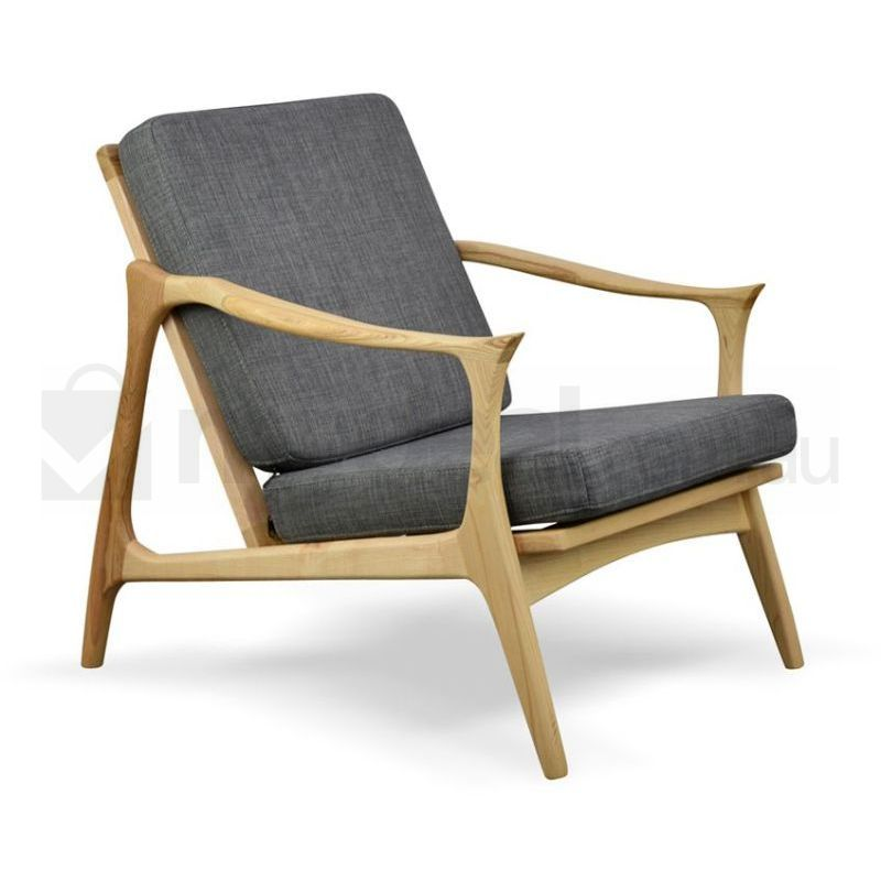 Alfred Wooden Arm Chair With Grey Fabric Buy Armchairs
