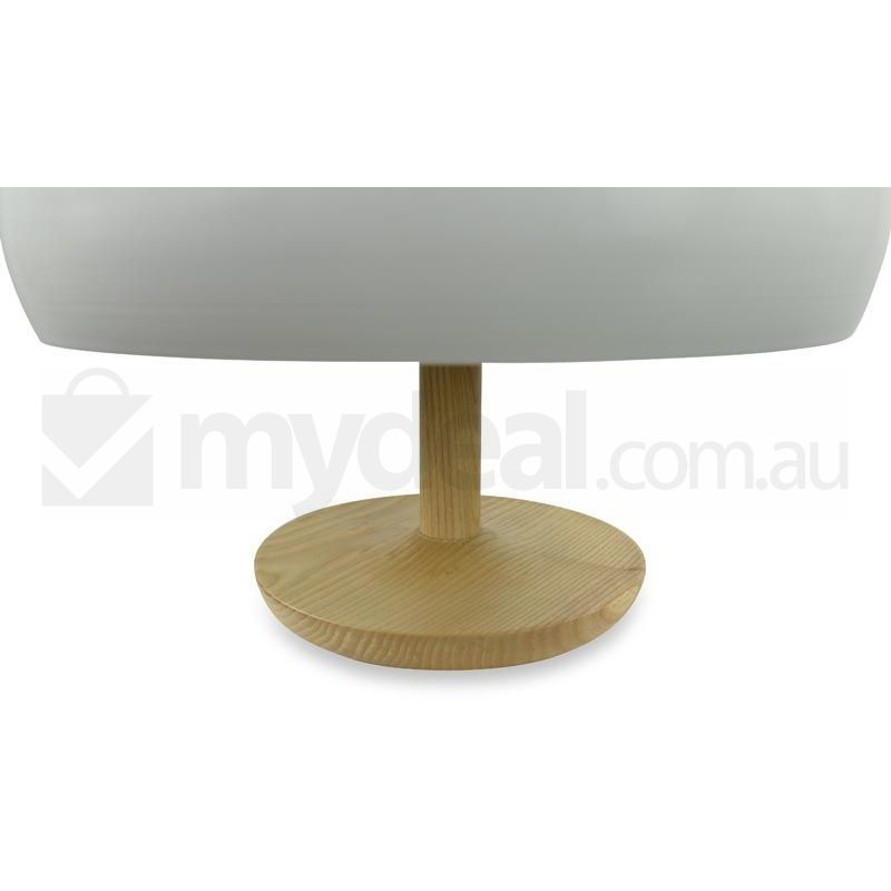 Ares Bulb White Glass Table Lamp With Wooden Base