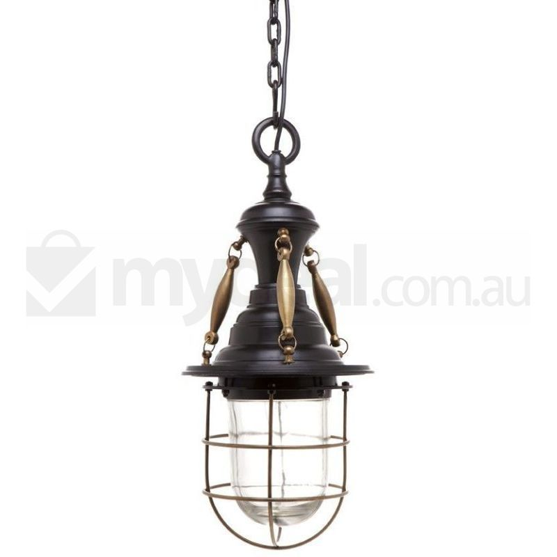 Beacon Antique Brass Ceiling Pendant Light In Brown