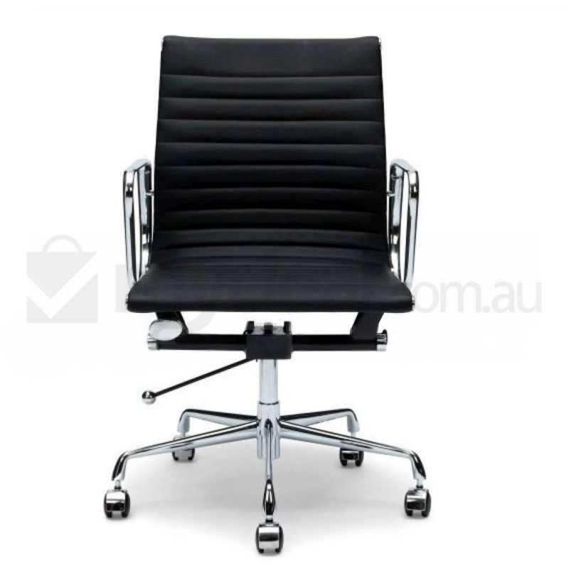 Black aluminium leather office chair eames replica buy for Eames aluminium chair replica