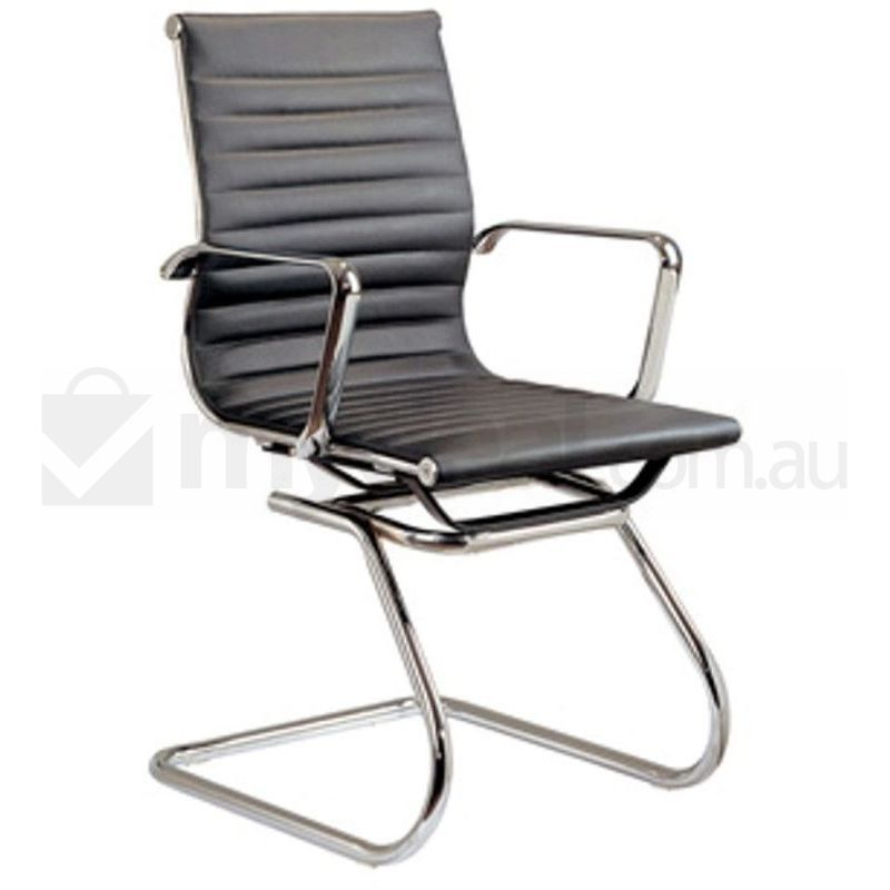 eames replica pu leather visitor office chair black buy tax
