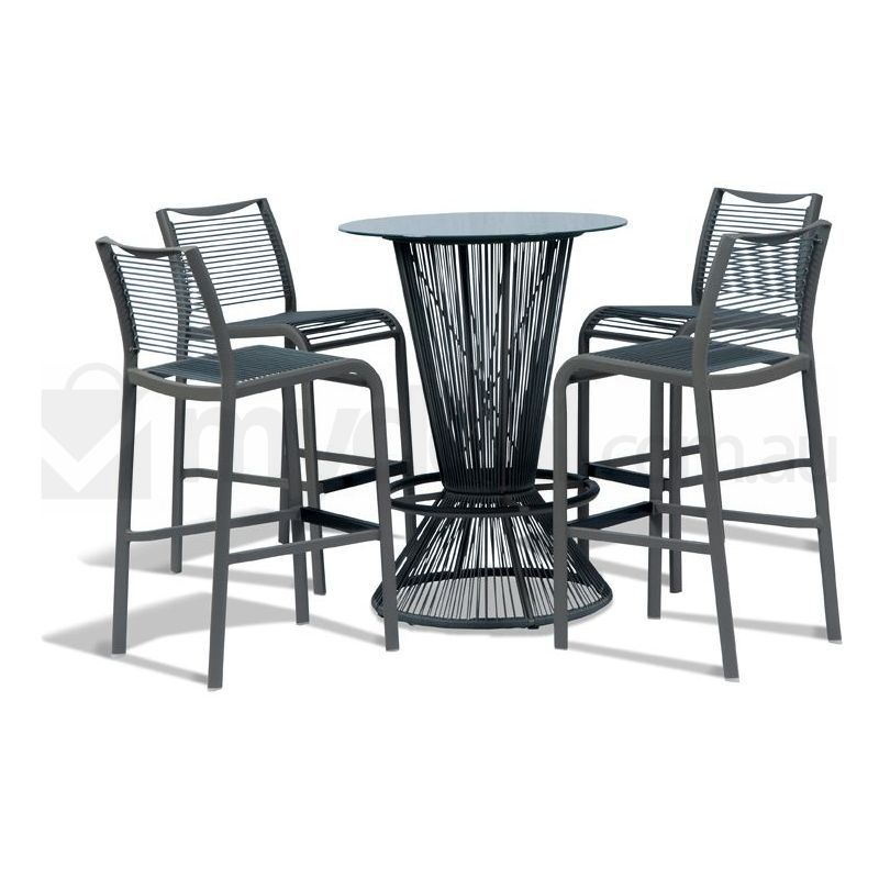 Seychelles Grey Outdoor Bar Setting Aluminium Steel