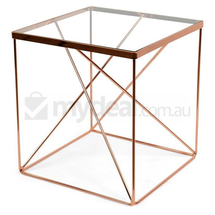 Tribeca Copper Geometric Side Table Clear Glass Top