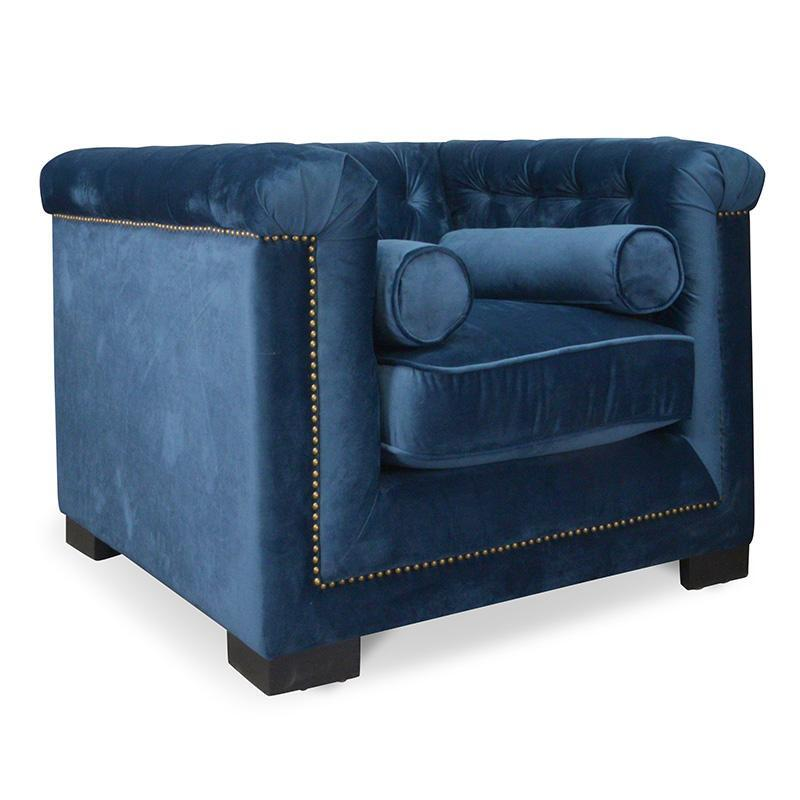 Chesterfield Sofa With Accent Chairs.Penelope Chesterfield Lounge Chair In Navy Velvet