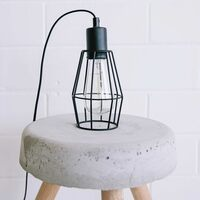 Industrial Metal Black Cage Light Pendant - Small