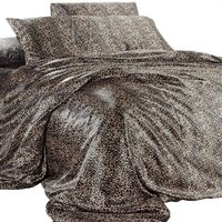 Leopard Print Polyester Satin Queen Quilt Cover Set