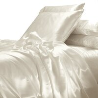 Luxury Cream Polyester Satin Queen Bed Sheet Set