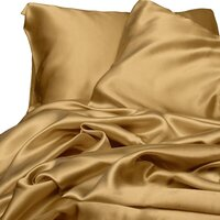 Luxury Gold Polyester Satin Queen Bed Sheet Set