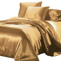 Luxury Gold Polyester Satin Queen Quilt Cover Set
