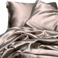 Luxury Latte Polyester Satin Queen Bed Sheet Set