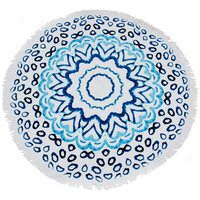 Large Cotton Circular Round Beach Towel in Blue