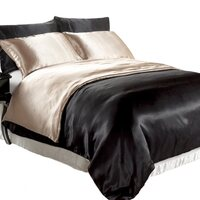 Reversible Black/Latte Satin Queen Quilt Cover Set