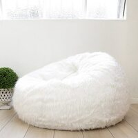 Designer Furry Large Bean Bag Chair Cover in White